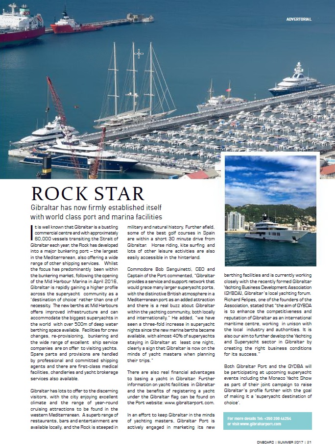 Advertising Feature in Onboard Magazine - July 2017 Image